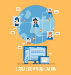 social network poster with earth user icon vector image