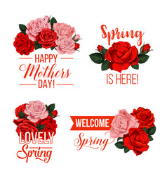 springtime or mother day floral icons vector image