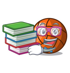 Student with book volleyball mascot cartoon style vector