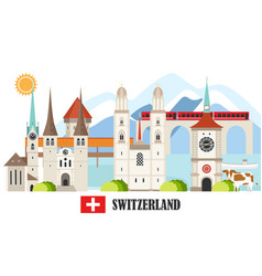 switzerland travel landmarks background vector image