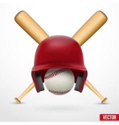 symbol a baseball helmet ball and two bats vector image