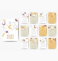 The 2020 calendar template vector