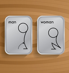toilet signs on wooden vector image