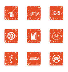 Toll road icons set grunge style vector