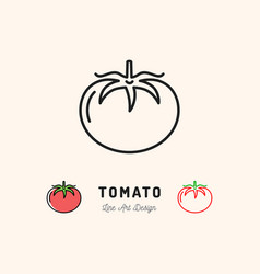 Tomato icon vegetables logo thin line art vector