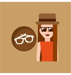 Vacation woman sun glasses summer vector