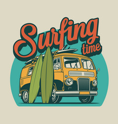 Vintage surfing time colorful concept vector