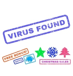 Virus Found Rubber Stamp vector
