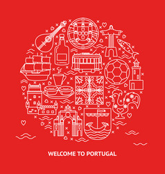 welcome to portugal round concept with icons in vector image