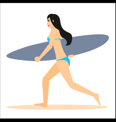 Woman surfer run with surfboard vector
