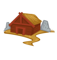 Wooden viking house or hut with straw roof vector