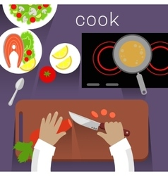 Work Space Cook Design Flat Concept vector image