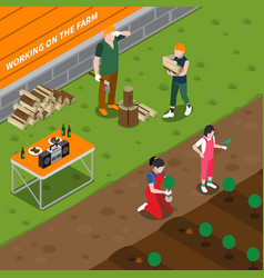 Working on family farm isometric composition vector