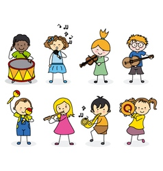 group children with musical instruments vector image vector image