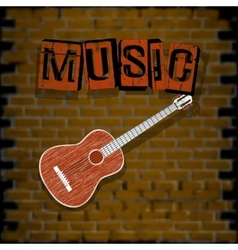 musical background with brick wall vector image vector image