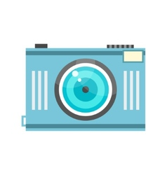 blue photo camera in retro style vector image