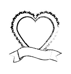 heart label ribbon decorative sketch vector image vector image