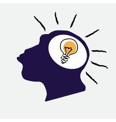 idea bulb in stylized monkey head vector image vector image