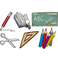 school objects cartoon set vector image vector image