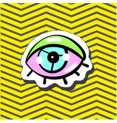 fashion patch badge pin with eye vector image vector image