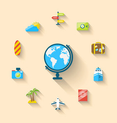 Flat set icons of globe and journey vacation vector image