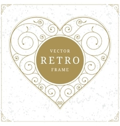 Heart luxury logo template in retro style vector image vector image