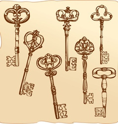 Set of Antique Keys vector image vector image
