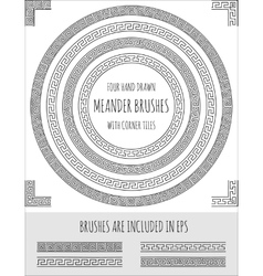 set of four hand drawn meander brushes vector image