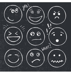 set of hand drawn faces moods smiles vector image vector image