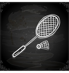 Badminton Drawing on Chalk Board vector image