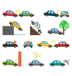 Car accidents flat icons vector image
