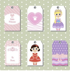 Cute creative cards with princess theme design vector image vector image