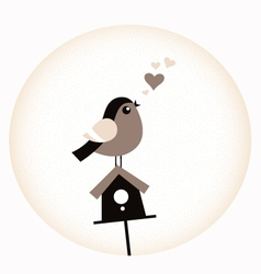 Cute valentine bird with a birdhouse - retro brown vector