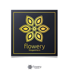 elegant flower logo icon design with gold color vector image