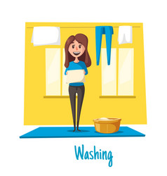 poster of woman and laundry washing vector image vector image