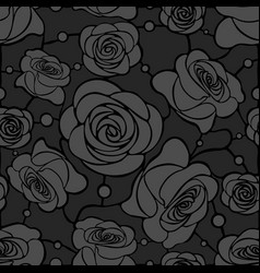 seamless floral mosaic pattern with gray roses on vector image