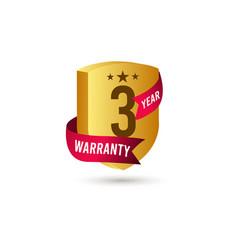 3 years warranty d label logo template design vector
