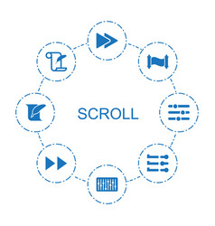 8 scroll icons vector image