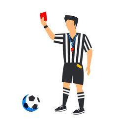 abstract in blue football referee with red card vector image