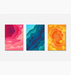 Abstract paper cut background set vector