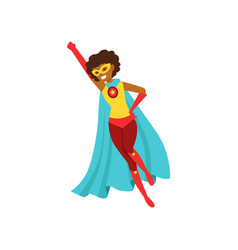 Afro american woman character dressed as a super vector