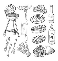 bbq sketch set barbecue and grill tools vector image