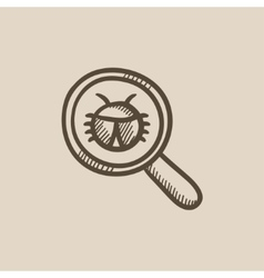 Bug under magnifying glass sketch icon vector