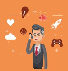 Businessman suit tie using smartphone social media vector