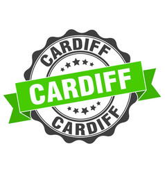 Cardiff round ribbon seal vector