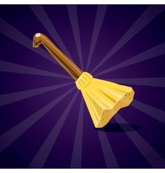 Cartoon broom isolated on purple background vector image