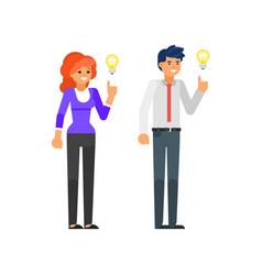 characters having an idea vector image