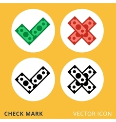 Check mark dollar piles flat icon vector