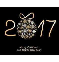 Christmas greeting card 2017 with golden balls vector image