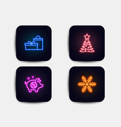 christmas tree gifts and piggy sale icons vector image